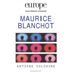 Revue Europe - numéro 940 - 941 Maurice Blanchot : Table of contents