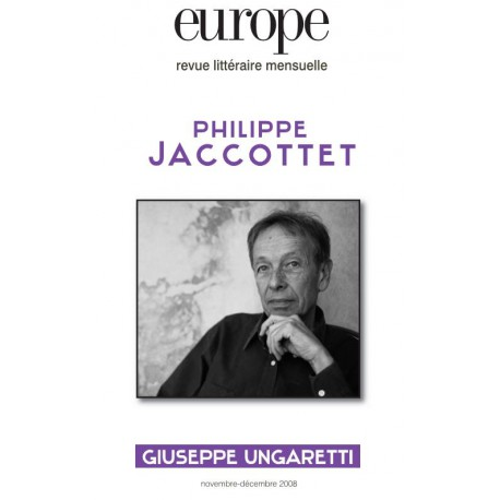 Revue Europe : Philippe Jaccottet : Table of contents